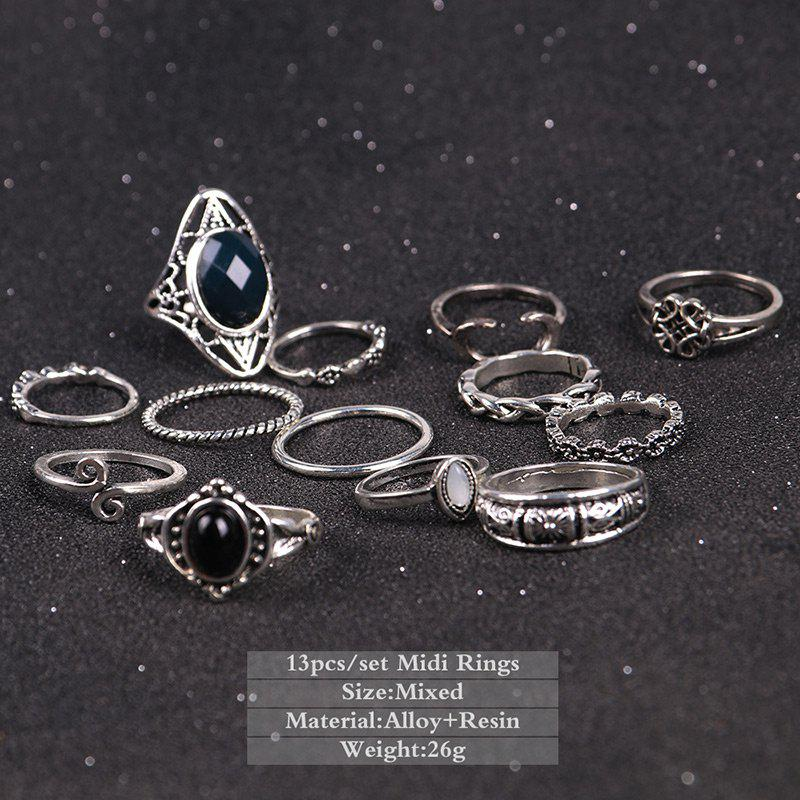 Moon Vintage Cuff Finger Ring Set - SILVER