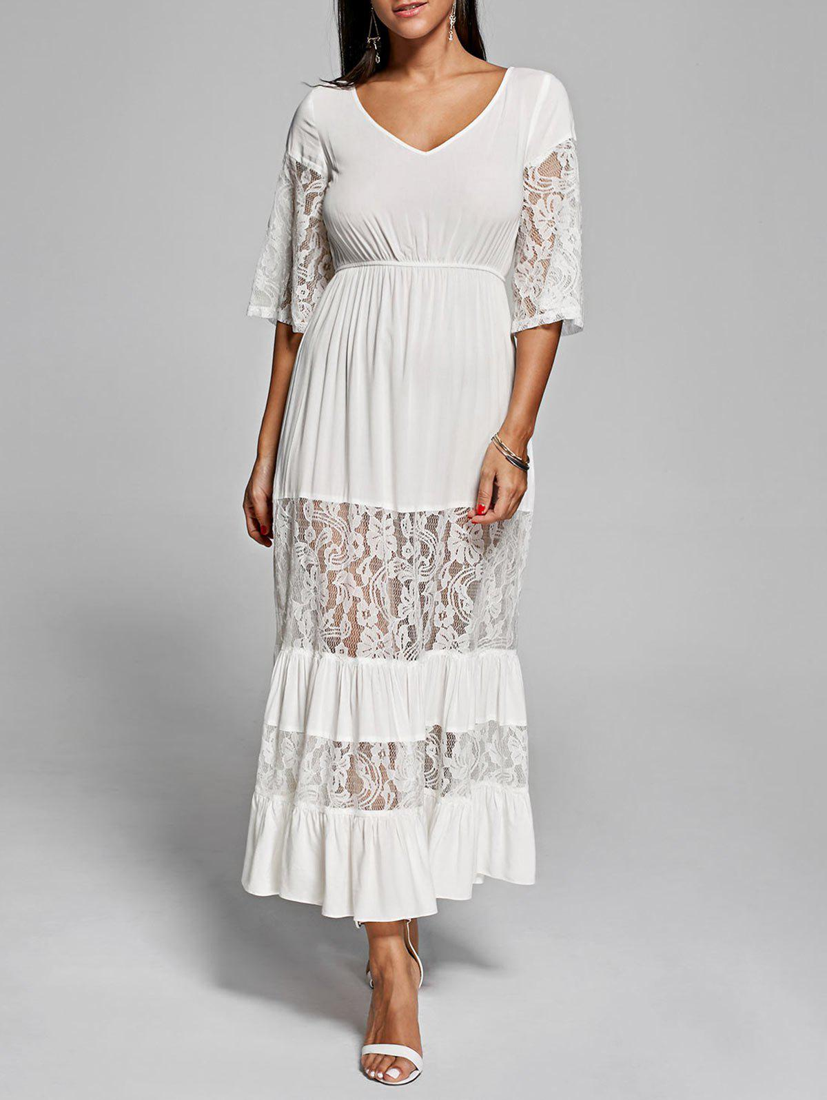 Lace Insert V Neck Romantic Boho Maxi Dress - OFF WHITE L