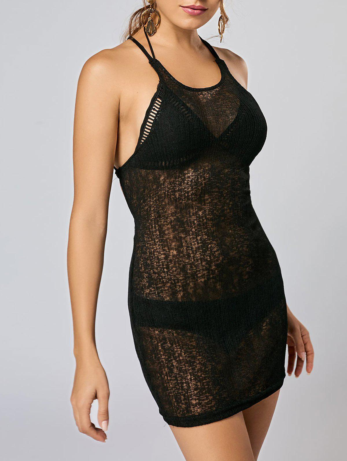 See Thru Backless Knitted Mini Dress - BLACK M