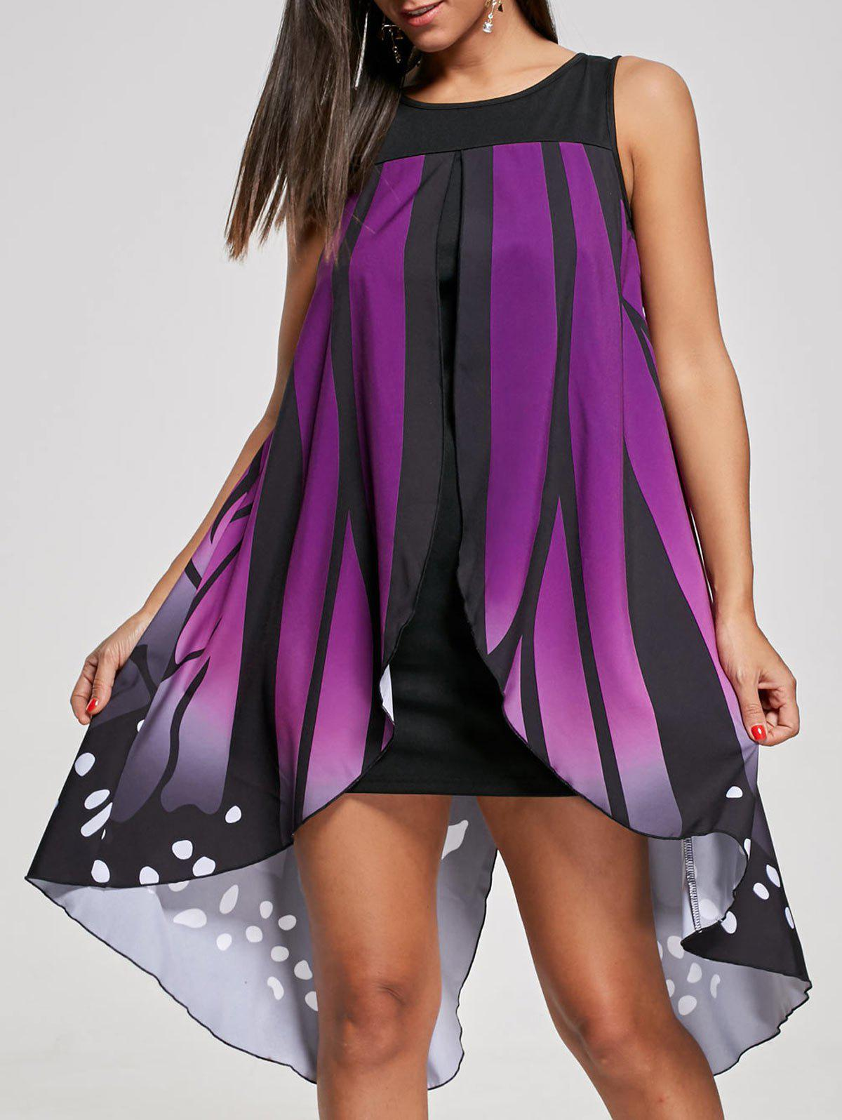 Front Slit Sleeveless Butterfly Shape Dress - PURPLE 2XL