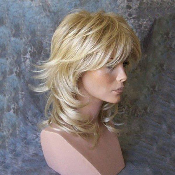 Medium Side Bang Tail Upwards Layered Slightly Curly Human Hair Wig - GOLDEN BROWN/BLONDE