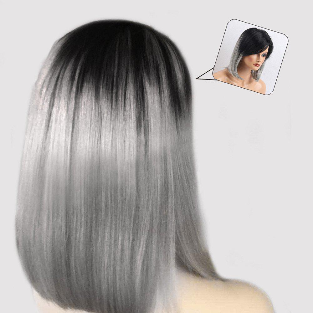 Inclined Bang Ombre Medium Straight Bob Human Hair Wig - COLORMIX
