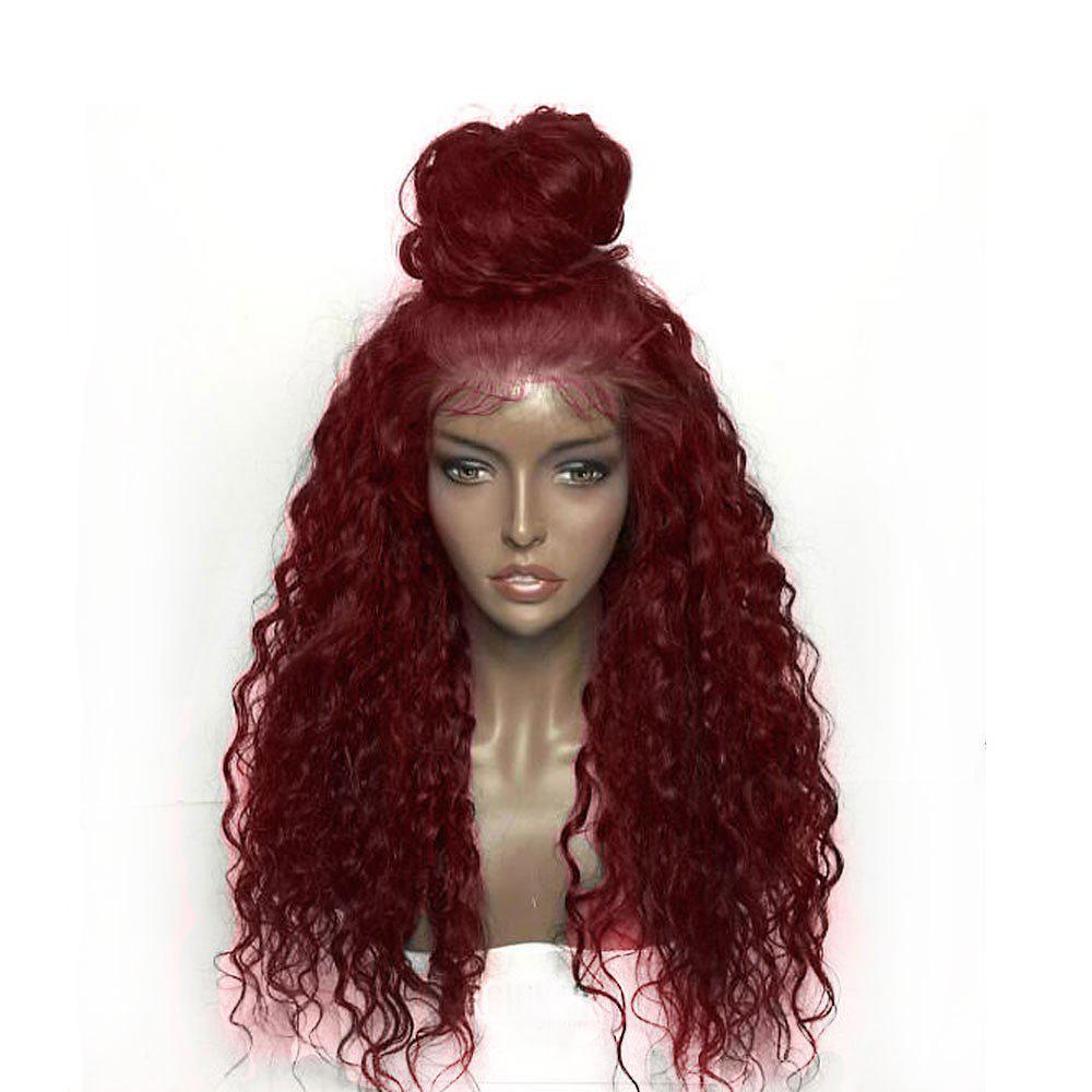 Fluffy Curly Long Lace Front Synthetic Wig long curly green synthetic lace front cosplay party wig