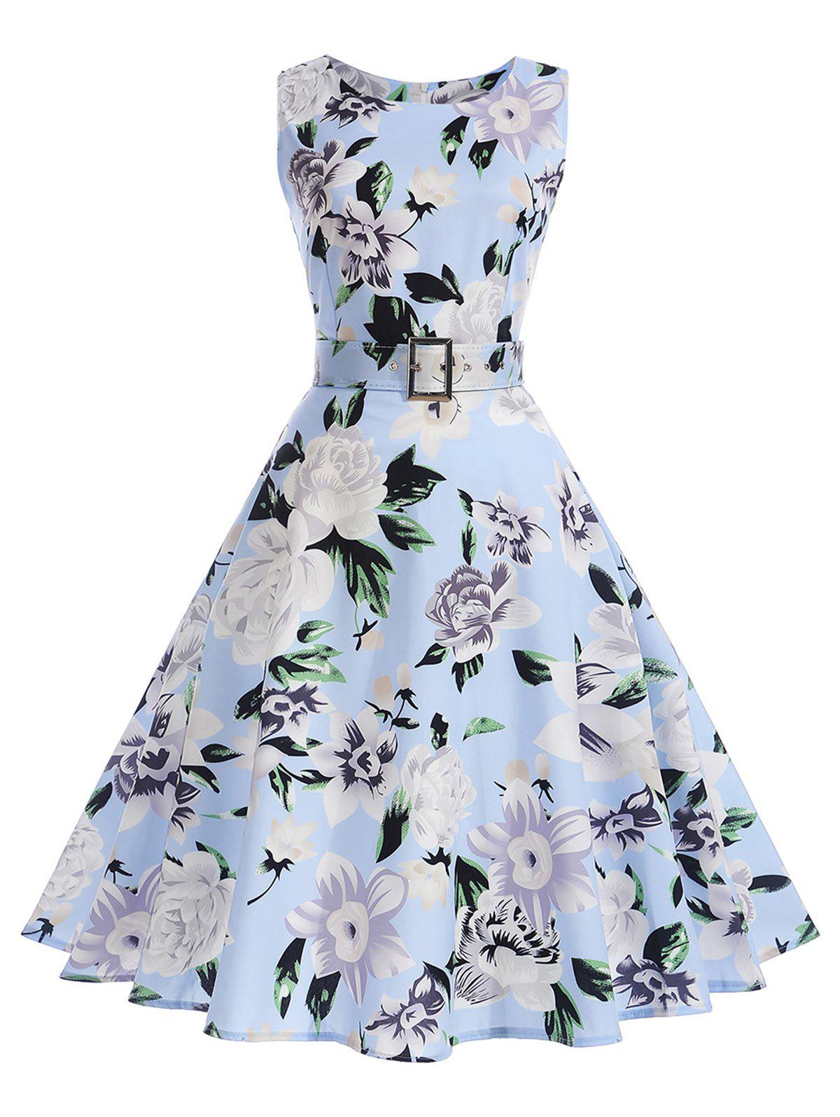 Vintage Floral A Line Sleeveless Dress - SKY BLUE M