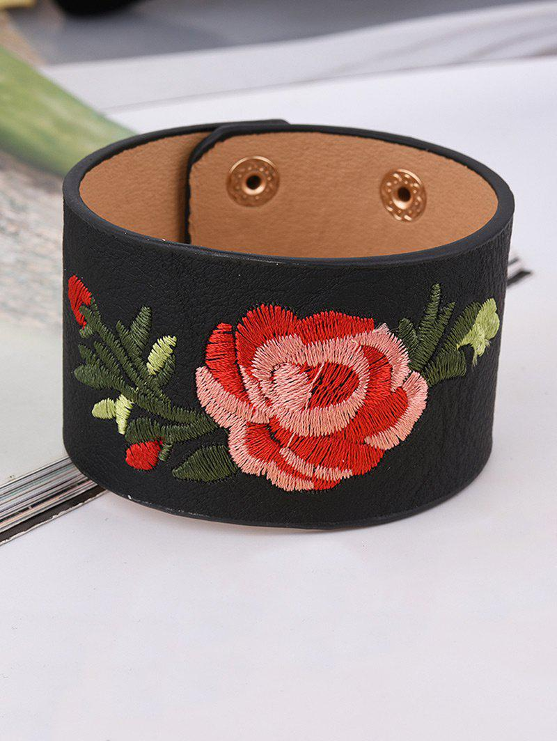 Faux Leather Chinese Embroidery Flower Bracelet - BLACK