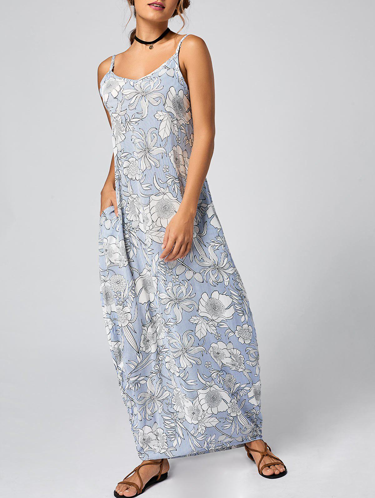 Floral Striped Maxi Slip Dress - LIGHT BLUE S