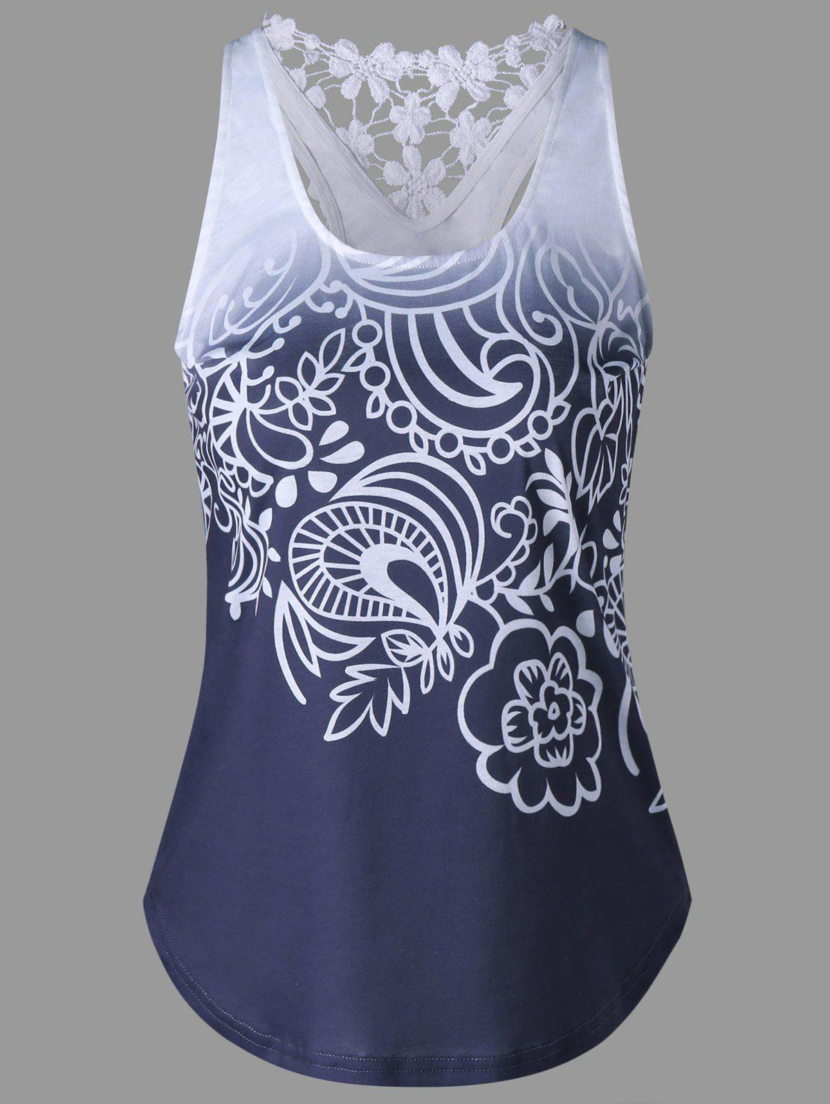 Printed Lace Insert Ombre Tank Top - PURPLISH BLUE L