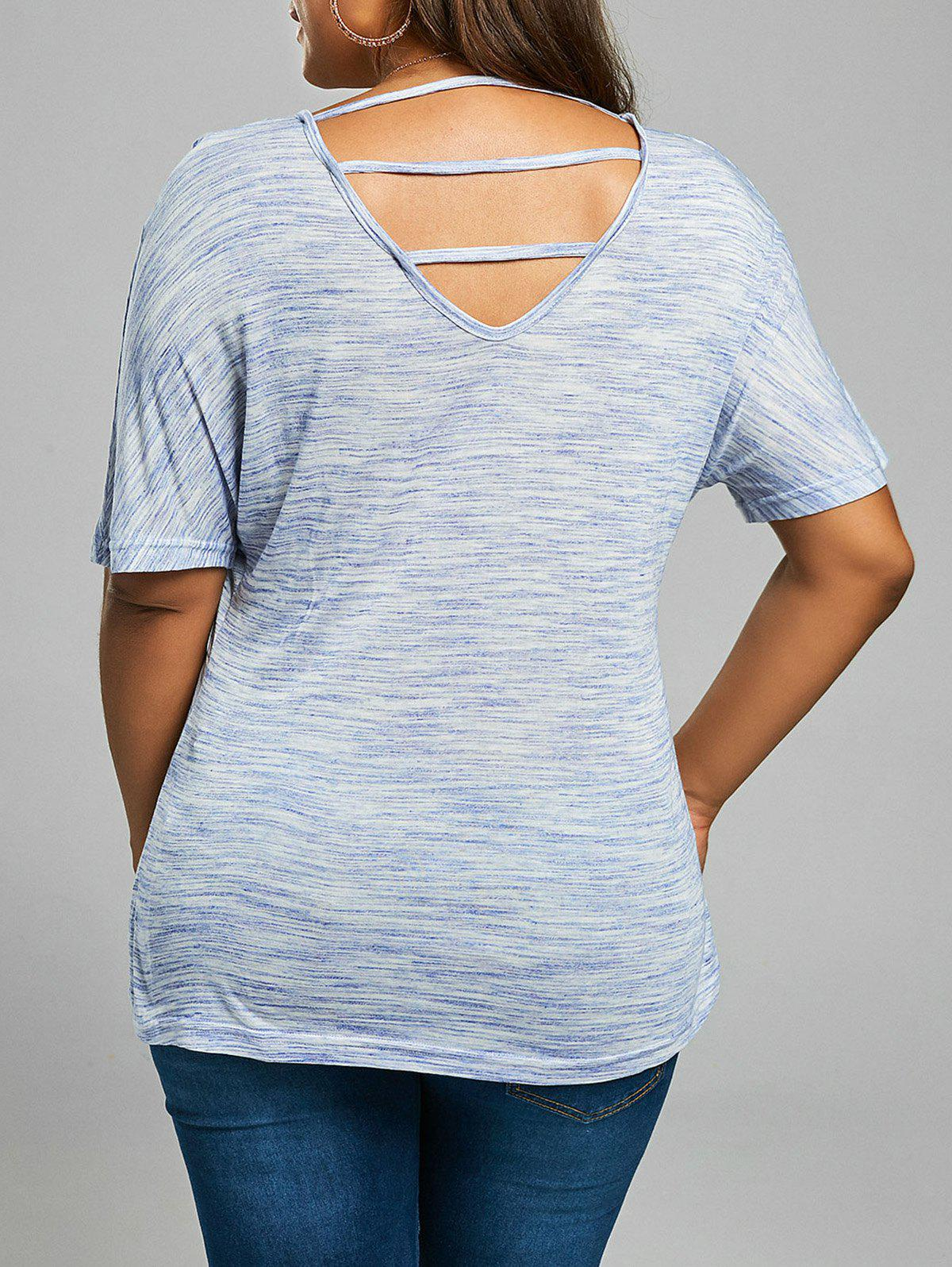 Back cutout plus size v neck tee shirt blue gray xl in for V neck back shirt