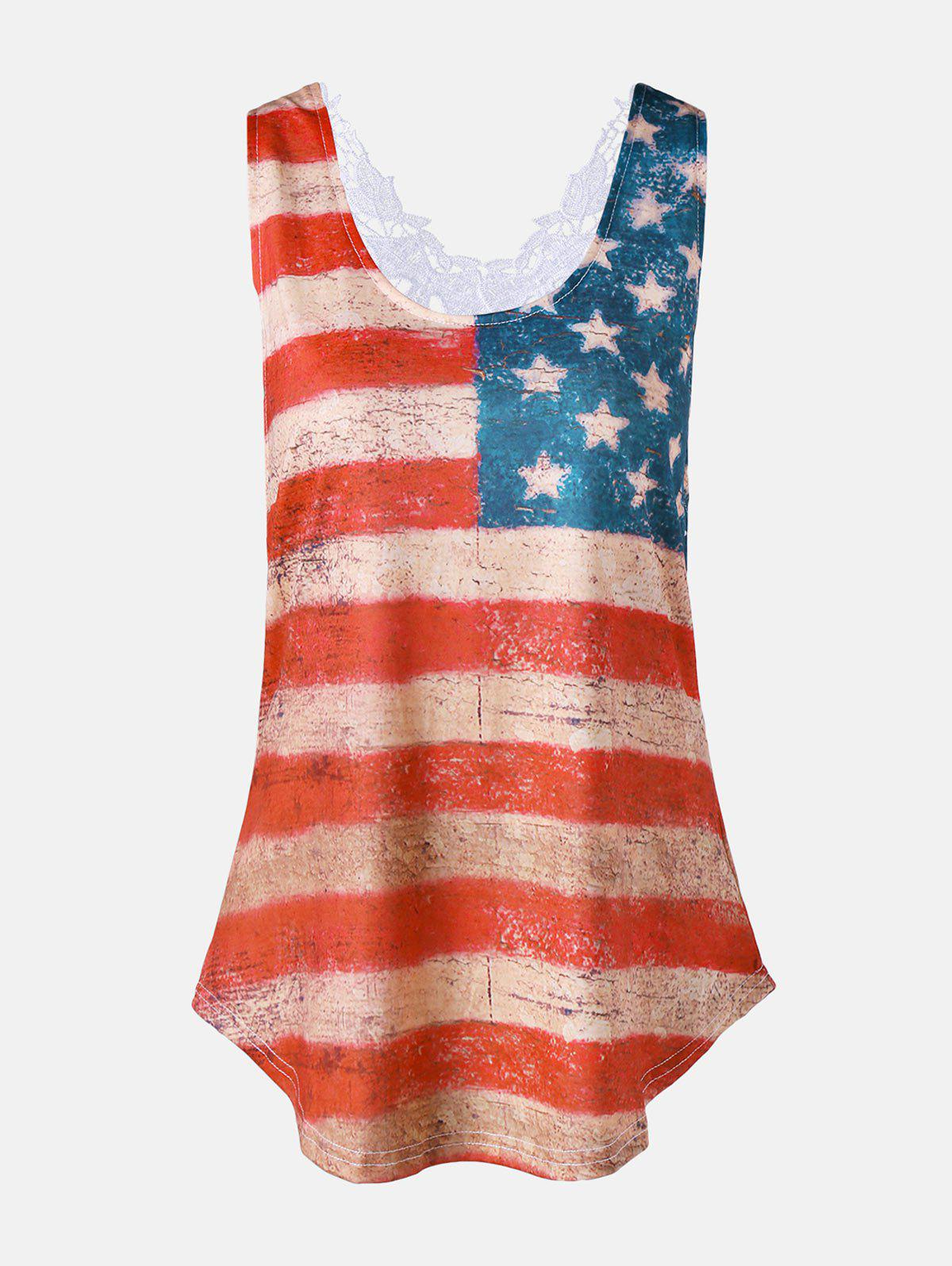 Lace Insert Stars and Stripes Racerback Tank - COLORMIX 2XL