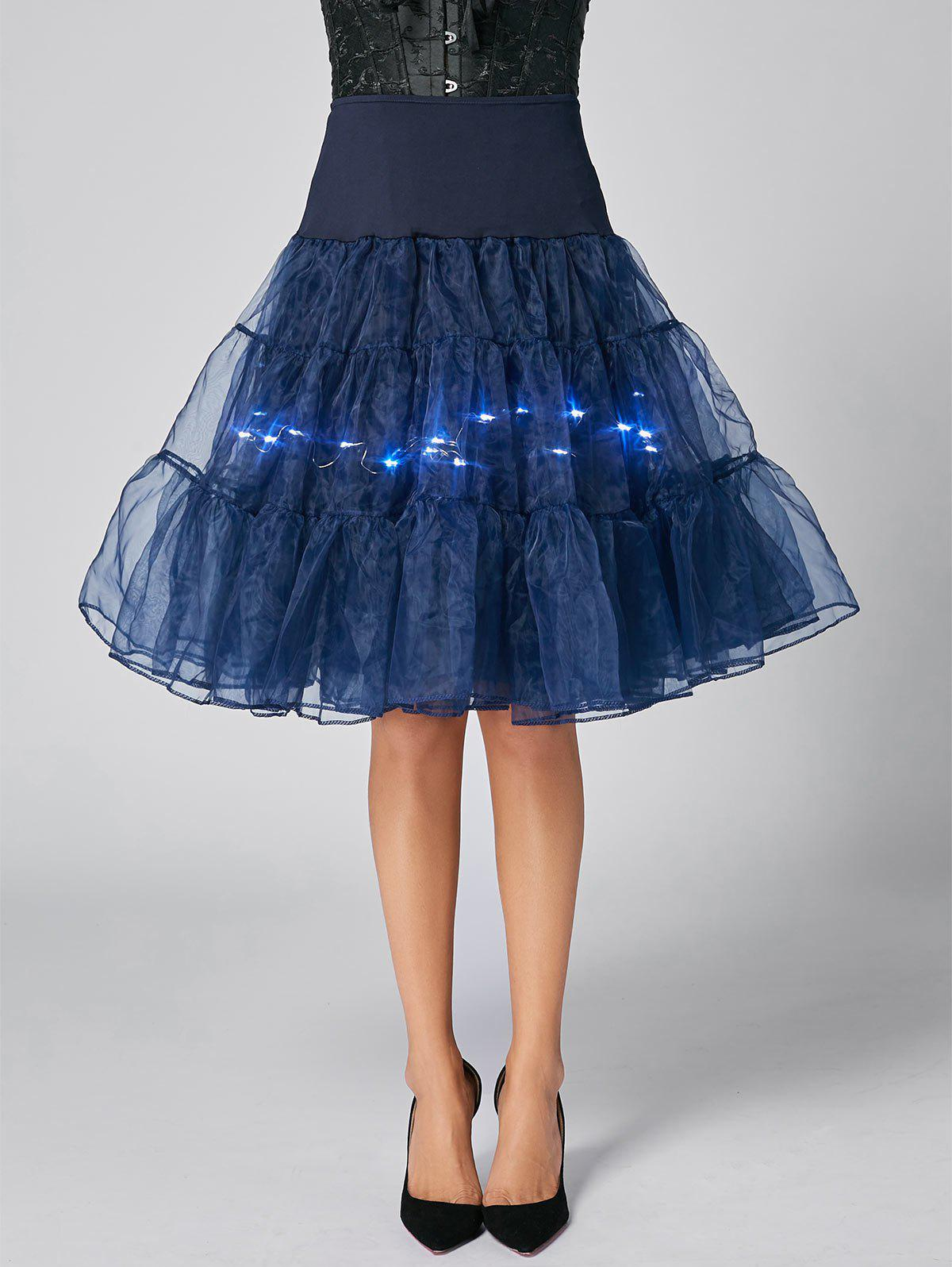 Flounce Light Up Cosplay Skirt - CERULEAN L