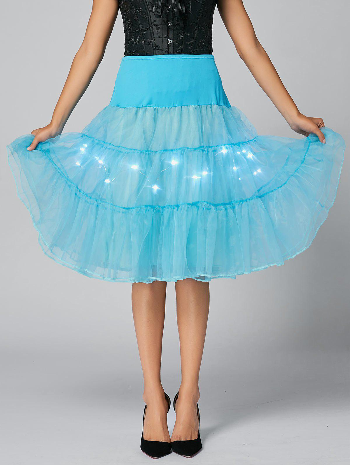 Flounce Light Up jupe de cosplay - Bleu clair M