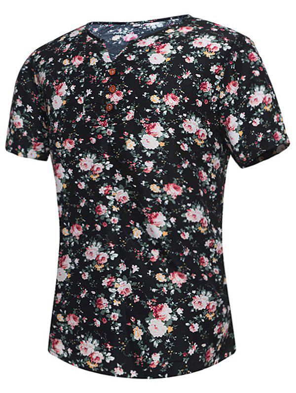 Button Embellished Notch Neck Floral Print Tee notch neck button embellished floral tee