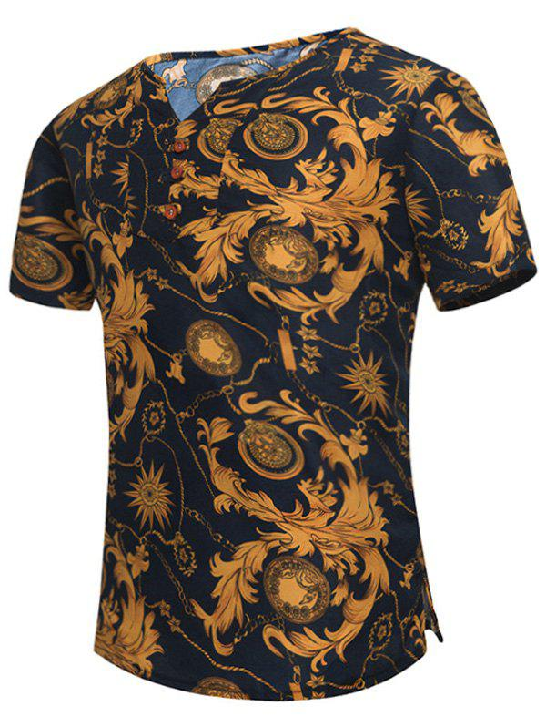 Notch Neck Retro Leaves Print Tee - COLORMIX 2XL