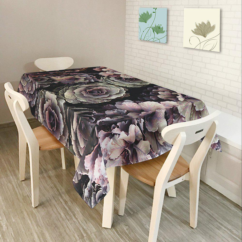 Flower Print Waterproof Table Cloth - BLACK W54 INCH * L72 INCH