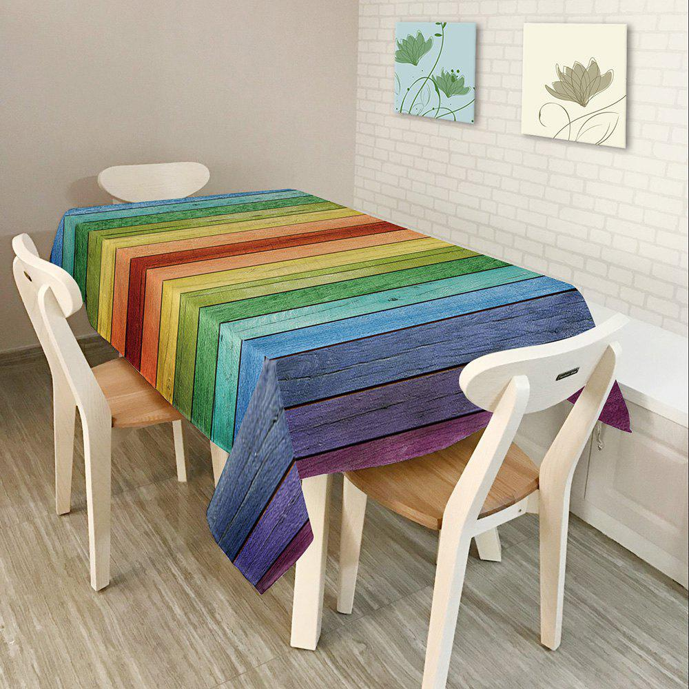 Colorful Wood Grain Print Waterproof Table Cloth - COLORFUL W54 INCH * L54 INCH