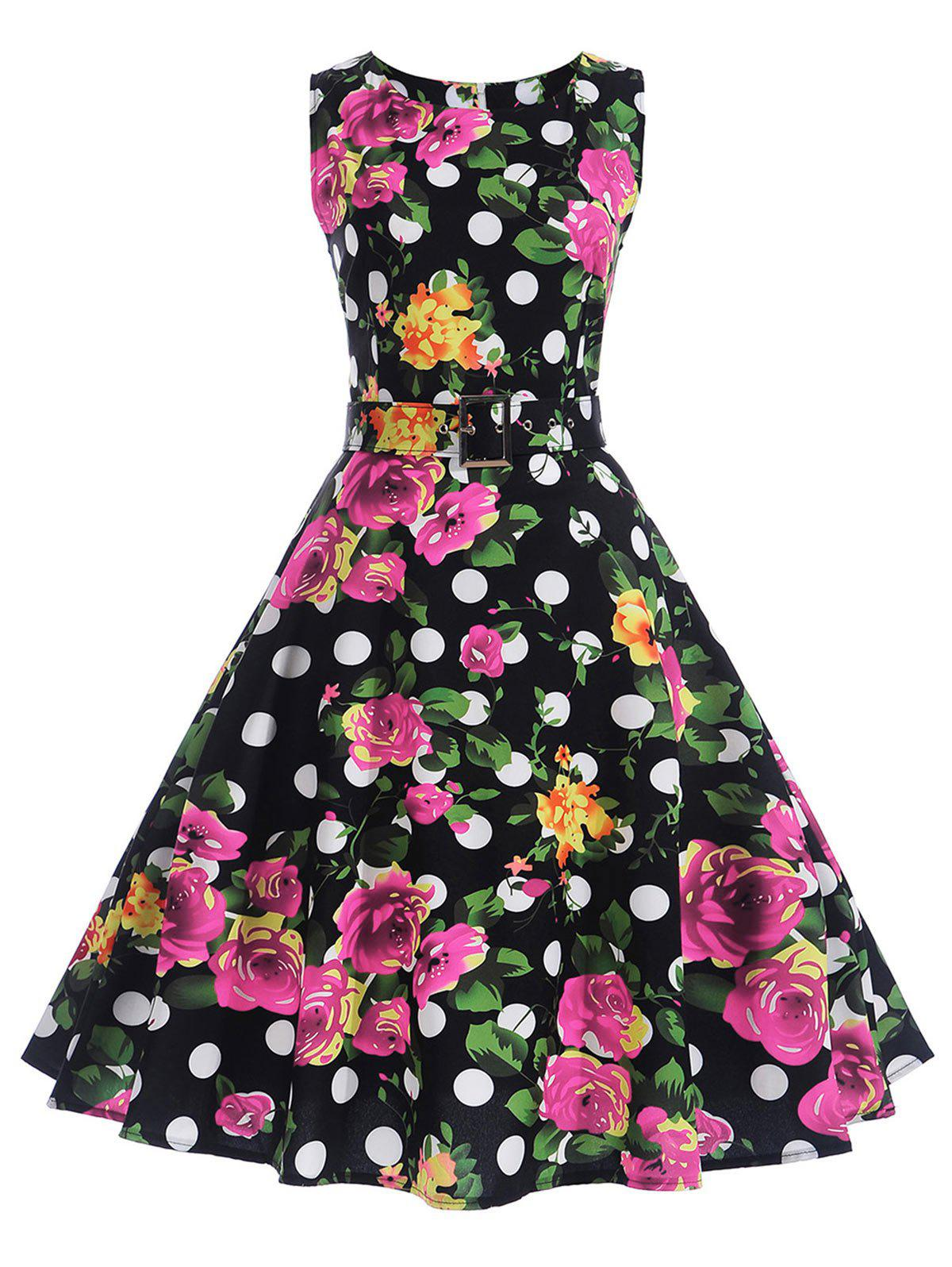 Polka Dot Floral A Line Vintage Dress - BLACK XL