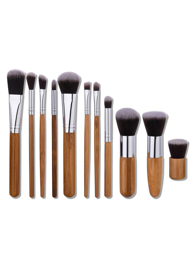 Nylon Wooden Handle Makeup Brushes Set - WOOD