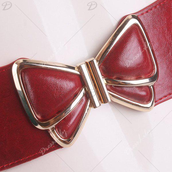 Butterfly Buckle Artificial Leather Splicing Belt - RED