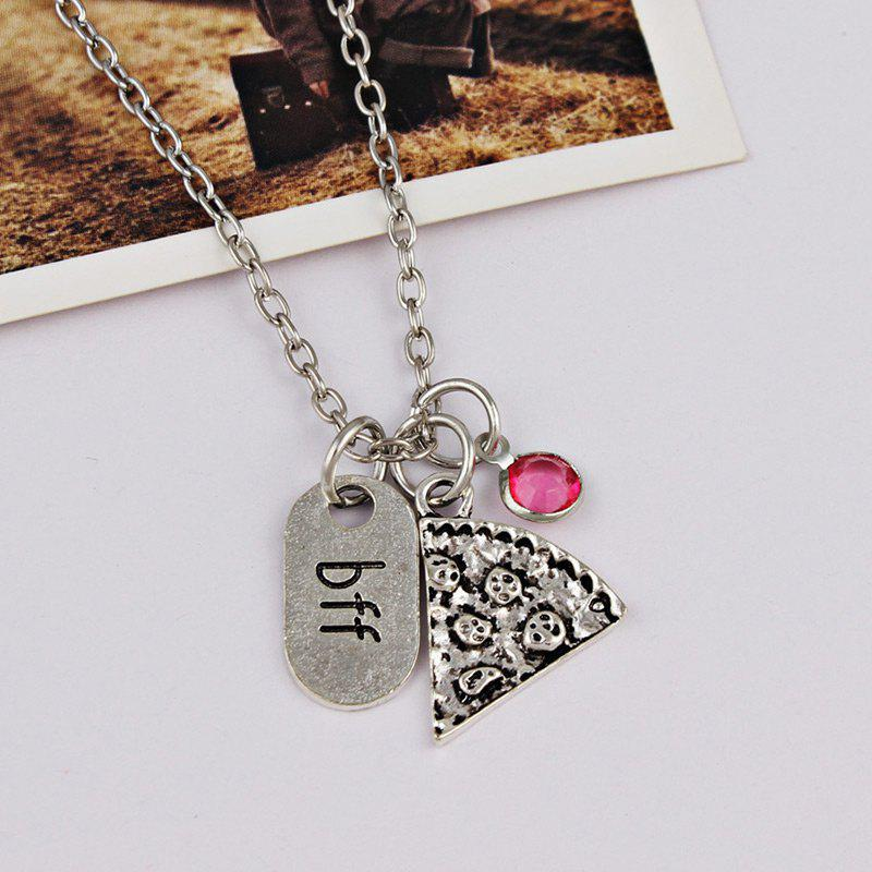 2018 Collier avec Pendentif Strass Bff et Pizza Rouge Rose In ... f628a70ca6c