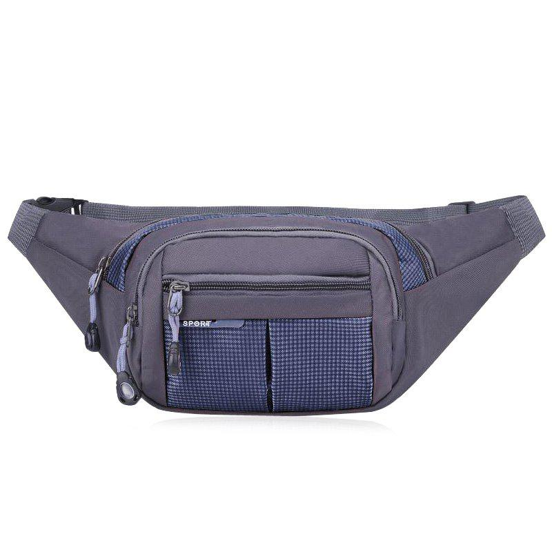 Unisex Colorblock Waist Bag - DEEP BLUE