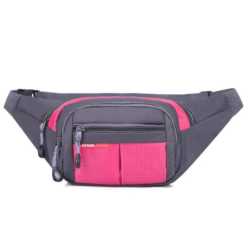 Unisex Colorblock Waist Bag - rose