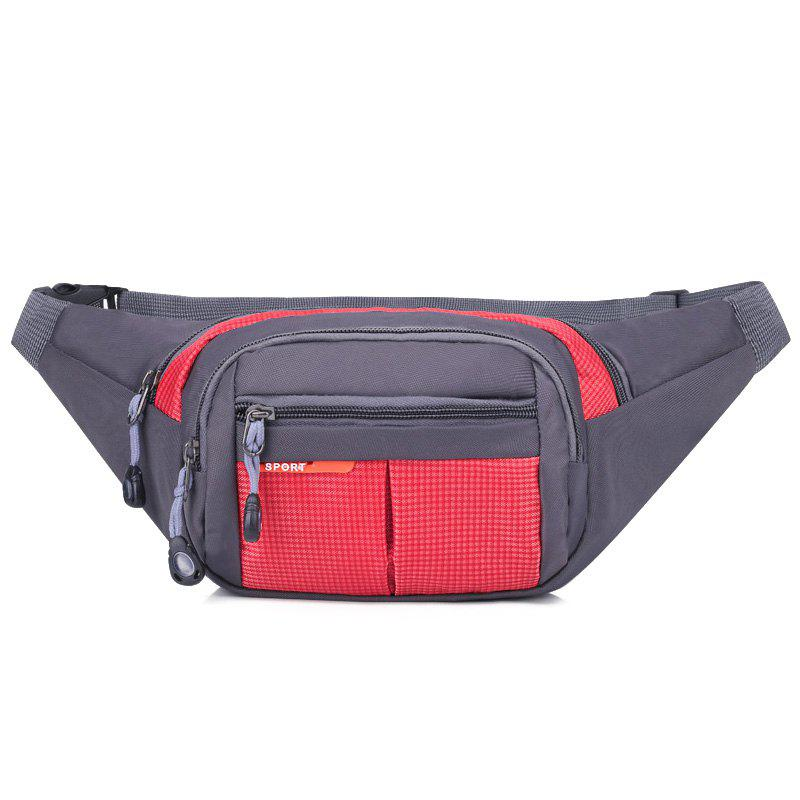 Unisex Colorblock Waist Bag - RED