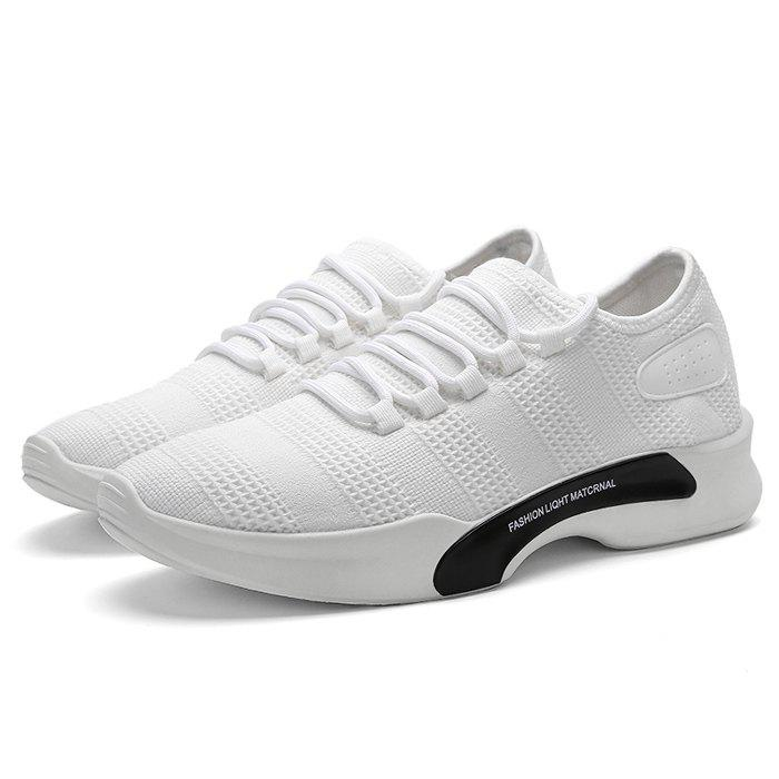 Mesh Breathable Tie Up Athletic Shoes - WHITE 40