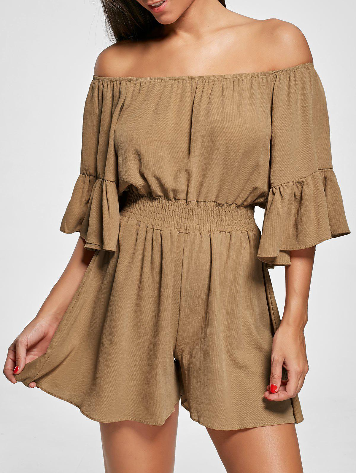 Off The Shoulder Smocked Ruffle Romper - [