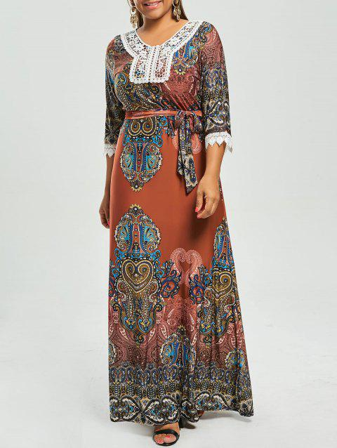 35 Off 2018 Printed Plus Size Gypsy Maxi Dress With Sleeves In Red