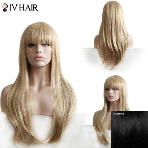 Siv Hair Full Bang Layered Straight Long Human Hair Wig - JET BLACK 01