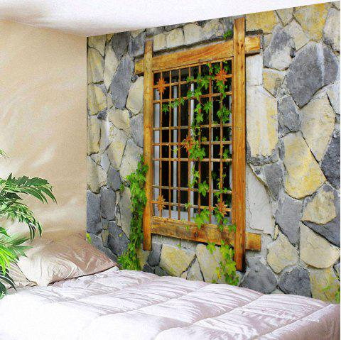 Woody Window Stone Wall Hanging Tapestry - COLORMIX W51 INCH * L59 INCH