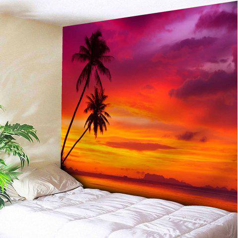 Coconut Trees Sunset Print Tapestry Microfiber Wall Hanging - RED W59 INCH * L59 INCH