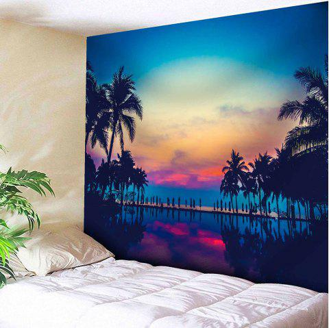 Coconut Trees Sunset Print Tapestry Microfiber Wall Hanging - BLUE W59 INCH * L59 INCH