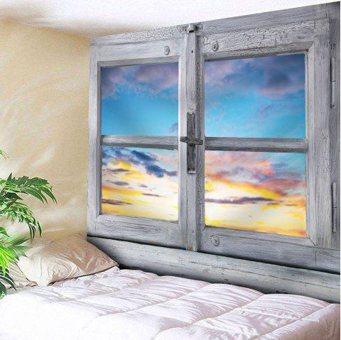 Outside The Window Print Tapestry Microfiber Wall Hanging - WHITE GREY W79 INCH * L59 INCH