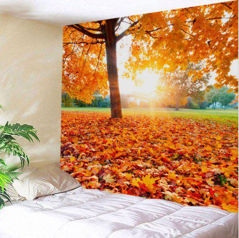Maple Tree Leaf Sunlight Wall Art Tapestry - ORANGE W59 INCH * L51 INCH