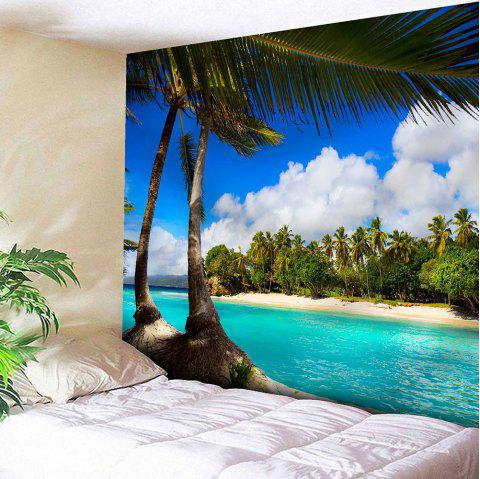 Wall Hanging Seaside Coconut Tree Print Tapestry - BLUE W59 INCH * L59 INCH