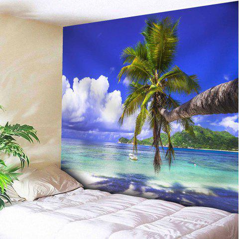 Wall Hanging Seaside Coconut Tree Print Tapestry - DEEP BLUE W59 INCH * L59 INCH