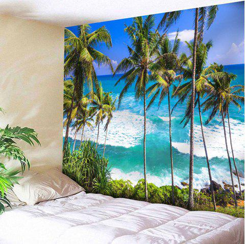 Wall Hanging Seaside Coconut Tree Print Tapestry - SAPPHIRE BLUE W59 INCH * L59 INCH