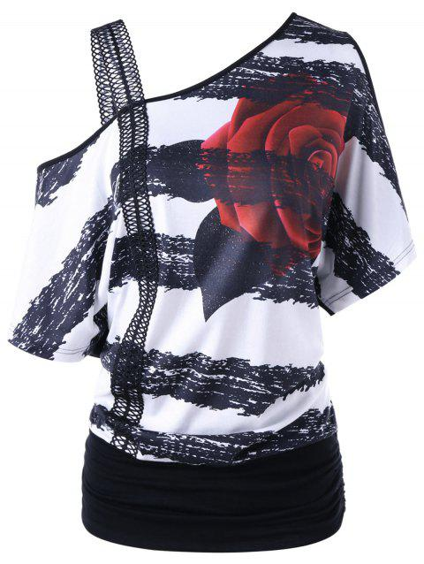 Skew Neck Floral Print T-shirt - BLACK WHITE M