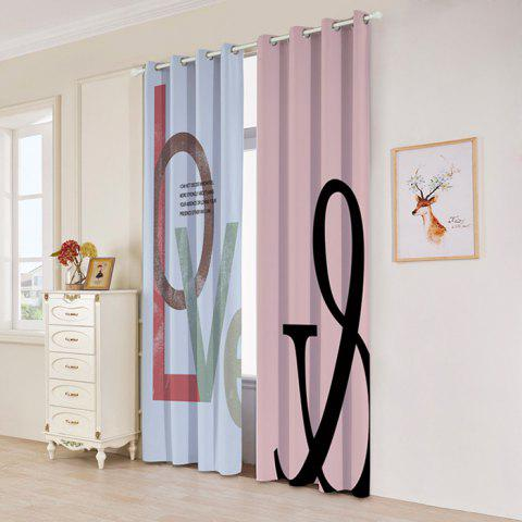 2 Panels Love Print Blackout Window Curtains - multicolore W53 INCH * L96.5 INCH