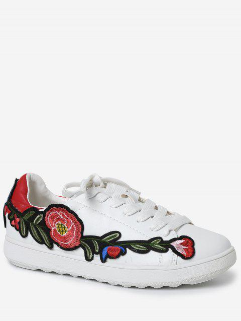 Embroidery Low-top Faux Leather Sneakers - RED 39