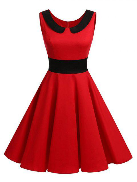 Vintage Peter Pan Collar Party Pin Up Dress - RED M