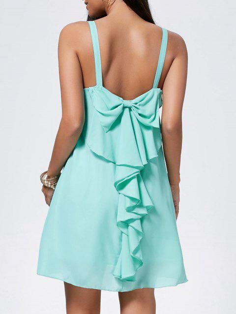 Bowknot Chiffon Mini Trapeze Dress - LIGHT GREEN 2XL