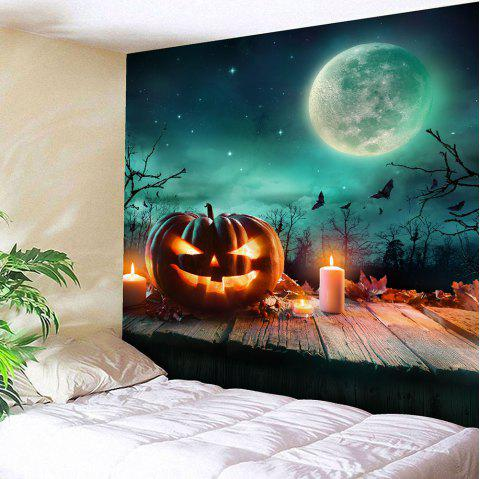 Halloween Pumpkin Candle Moon Waterproof Tapestry - COLORFUL W79 INCH * L59 INCH