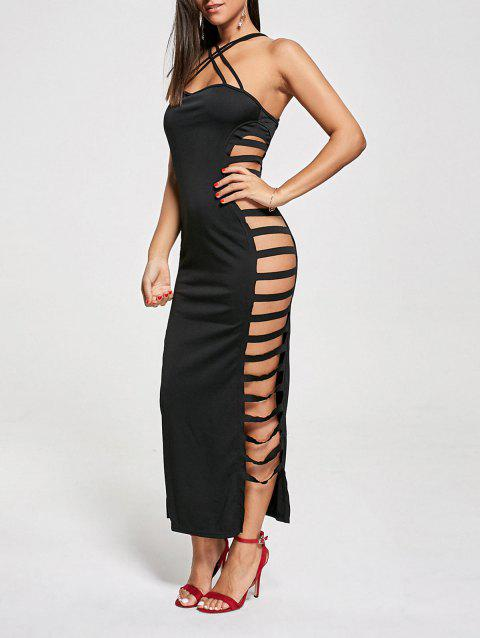 fddb24b335c 41% OFF] 2019 Sexy Cut Out Criss Cross Club Dress In BLACK | DressLily