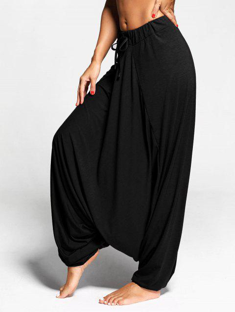 Drop Bottom Harem Pants with Drawstring - BLACK L