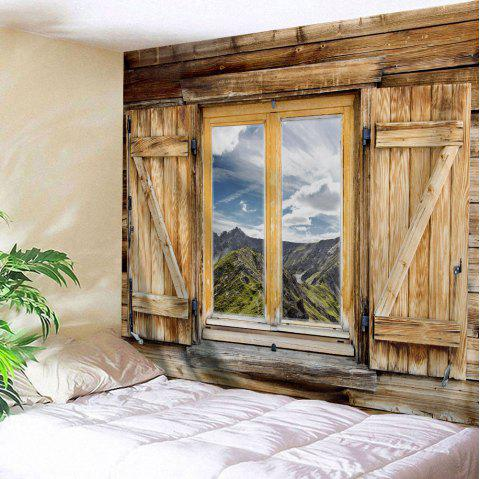 Woody Window Scenery Wall Art Tapestry - LIGHT BROWN W59 INCH * L79 INCH
