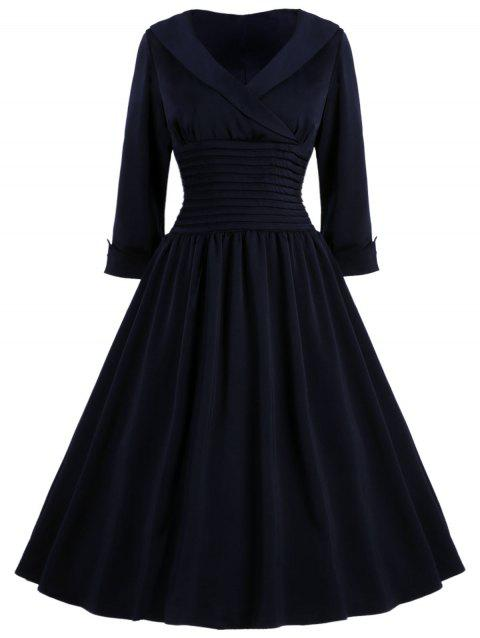 Vintage Women's Turn-Down Collar 3/4 Sleeve Slimming Dress - PURPLISH BLUE S
