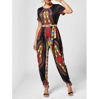 Tribe Print Belted Jumpsuit - BLACK L