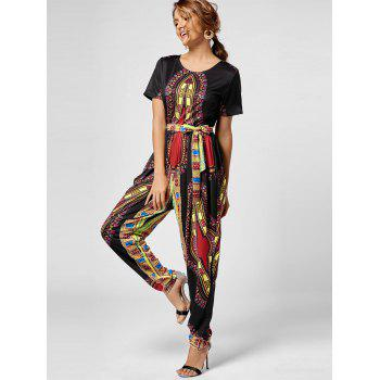 Tribe Print Belted Jumpsuit - BLACK BLACK